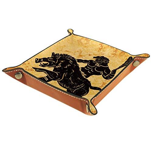 KAMEARI Bandeja de cuero vintage antiguo de Hércules caza león clave teléfono moneda moneda cuero cuero de vaca bandeja práctica caja de almacenamiento
