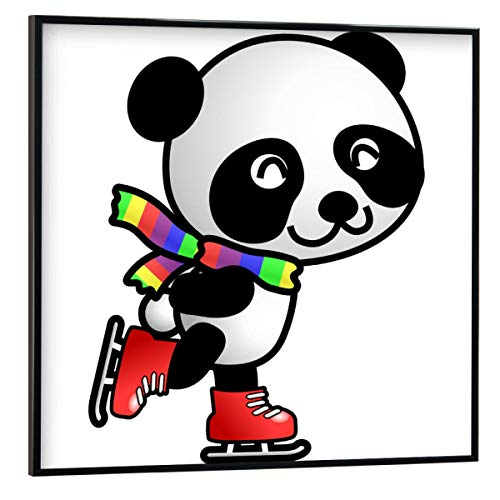 artboxONE Poster mit schwarzem Rahmen 30x30 cm Für Kinder Panda fährt Schlittschuh - Bild Panda pandabär bär