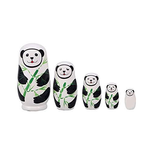 SYXX A mano de madera muñecas de la jerarquización de Matryoshka muñeca rusa for niños de juguete de cumpleaños de Navidad Año Nuevo regalo de la decoración del hogar de la panda Figura Juguetes 5pcs