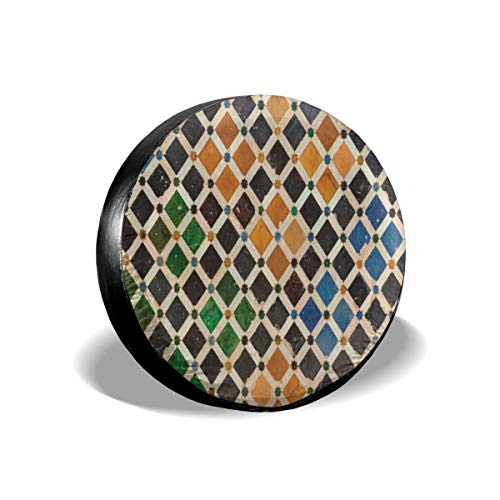 N\ A Spare Tire Cover Vintage Colorful Moroccan Plaid Universal Car Rear Tire Covers RV Wheel Cover Tires Protectors for Camper, Trailer, SUV, Truck, Boat, Motorhome, Waterproof L 15'