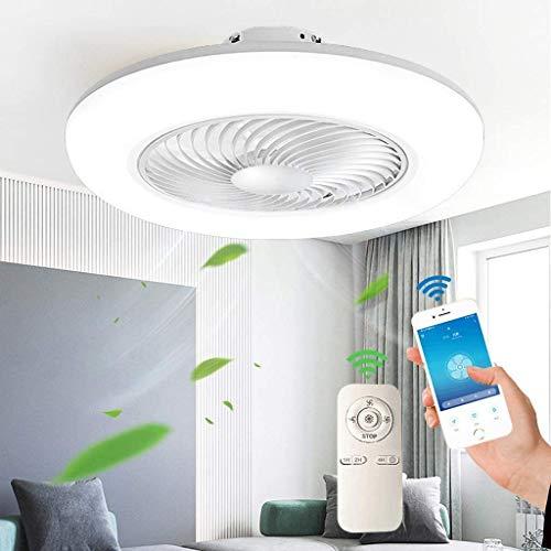 Deckenventilator Mit Beleuchtung Moderne LED Fan Deckenleuchte, Einstellbare Windgeschwindigkeit Dimmbar Mit Fernbedienung, 48W Timing leise Schlafzimmer Wohnzimmer ventilator licht Weiß (Ø55*H20cm)