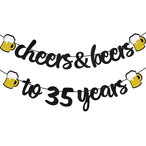 Cheers & Beers to 35 Years Black Glitter Banner for 35th Birthday Wedding Aniversary Party Supplies Decorations - PRESTRUNG