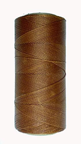 LINHASITA Bobina Hilo Encerado 100gr / 360 Metros 0,5 mm de Grosor Poliester Macrame 30 Colores (Marron Claro)