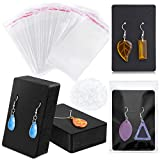 Earring Cards for Jewelry, Earring Necklace Card Holders 100 Pcs for Display Selling with 100 Pcs Self-Sealing Packaging Bags 200 Pcs Earring Backs for Small Business Package Gifting Supplies (Black)