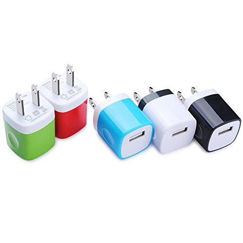 Wall Charger, Kakaly 5-Pack Universal Home Travel USB 1 Amp Wall Charger AC Power Charging Adapter Plug for iPhone 7/6/6S Plus, 4, 5S Samsung Galaxy, HTC, LG, Huawei, Google Nexus, and Most Phones