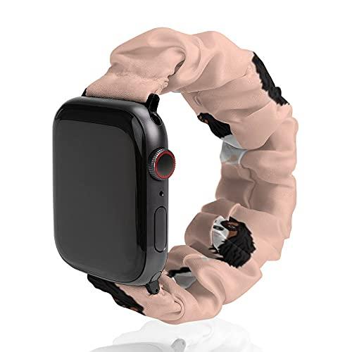 Correa de repuesto para hombre y mujer, compatible con Apple Watch de 42 mm/44 mm, suave y elástica para iWatch Series SE 6/5/4/3/2/1, Cavalier King Charles Spaniel Tricolor Simple Peach