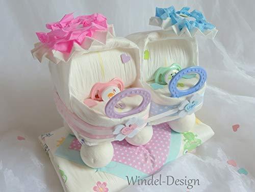 Windeltorte für Mädchen Jungen rosa Zwillinge Windelwagen, Geschenk, Babyparty, Geburt oder Taufe, auf Wunsch mit Grußkärtchen