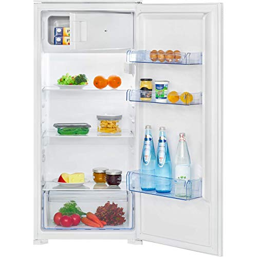 Bomann KSE 7807 Einbau-Kühlschrank, 181 Liter Nutzinhalt, 14 Liter Gefrierfach, LED Innenraumbeleuchtung, Schnellkühlfunktion, Temperaturbereich: 0°C ~ +8°C, weiß
