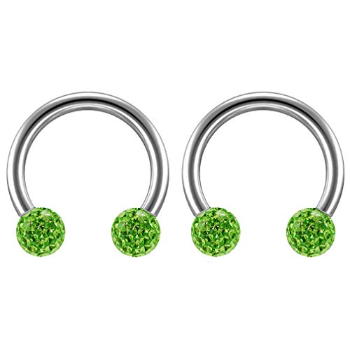 2 st 16 Guage 1,2 mm Circulaire Barbell Oorbellen Daith Forward Helix 16 g 1,2 mm Titanium Tragus Anti Rook Rim Oor Lobe Wenkbrauw Lip Cartilage Pinna Bridge Peridot