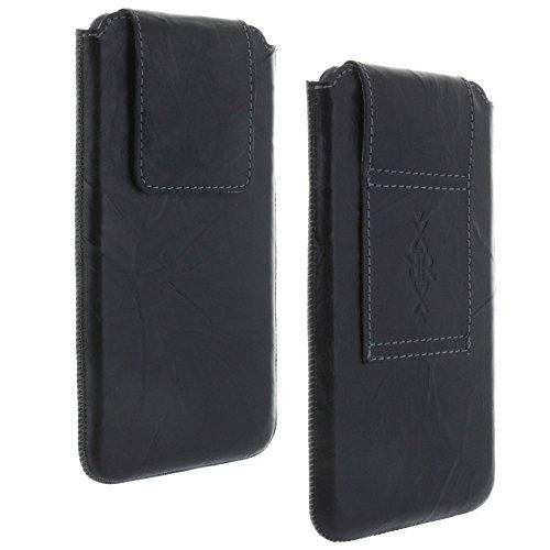 XiRRiX Leder Gürtel universal Handytasche 4XL passend für Huawei P30 Pro / P40 Lite / P40 Pro/Nova 5t / Motorola Moto G8 Play Power Plus/Samsung Galaxy A10 A50 A51 M21 M31 - Handy Tasche schwarz