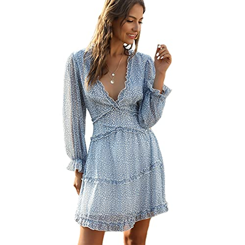 Mini vestido estampado Floral manga larga con volantes cuello en V profundo Primavera Verano para mujer (Leopard blue,S)