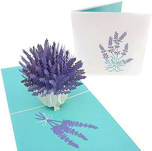 PopLife Cards Tarjeta del día de las madres del ramo de la flor del ramo de la lavanda para todas las ocasiones el día de madre, feliz cumpleaños, consigue la tarjeta bien, aniversario, jardinero