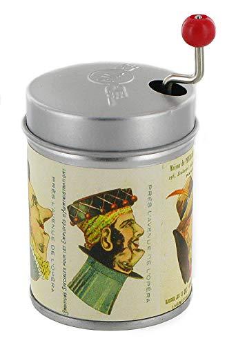 Boîte à musique à manivelle dans une boîte de résonnance en métal agrémentée d'une image de visages réversibles ou figures retournables (Réf : PML-TETES) - La vie en rose (Louiguy / Edith Piaf)