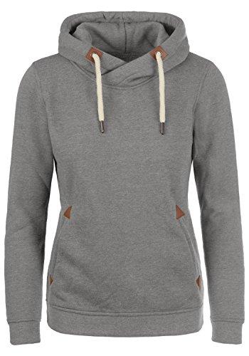 DESIRES VickyHood Damen Damen Hoodie Kapuzenpullover Pullover Mit Kapuze Cross-Over-Kragen Und Fleece-Innenseite, Größe:M, Farbe:Grey Melange (8236)