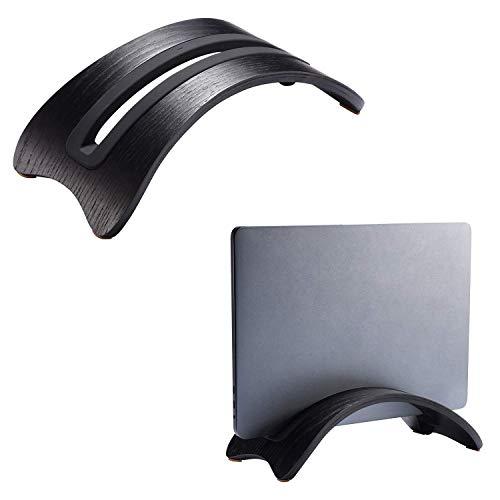 SAMDI Soporte Vertical para Laptop, Bookarc Natural Original Sencillo Escritorio Vertical de Madera con 3 Slots Soporte Titular Mostrar Stander para Apple Macbook Pro (Madera de Roble Negro)