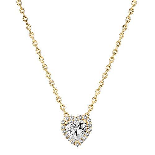 PAVOI 14K Gold Plated Post Faux Diamond Heart Shape Pendant Halo Necklace...