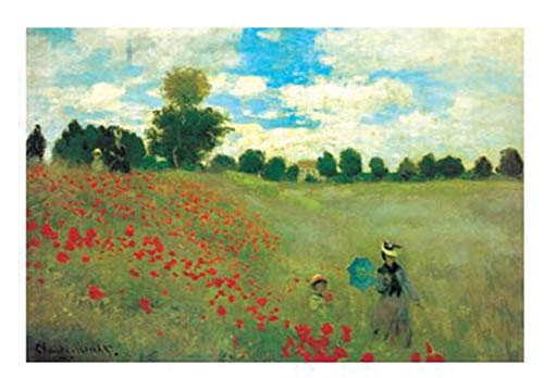 NineHorse Monet's Poppy Fields DIY 5D Diamond Painting by Number Kits, Painting with Diamonds