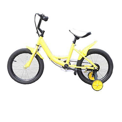 Wangkangyi – Bicicleta infantil con rueda auxiliar, 16 pulgadas, bicicleta para niño, rueda de apoyo, bicicleta BMX, adecuada para 2 hasta 9 años (amarillo)