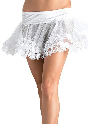 Leg Avenue Petticoat/Jupon avec le Bord en Dentelles Blanc Taille Unique