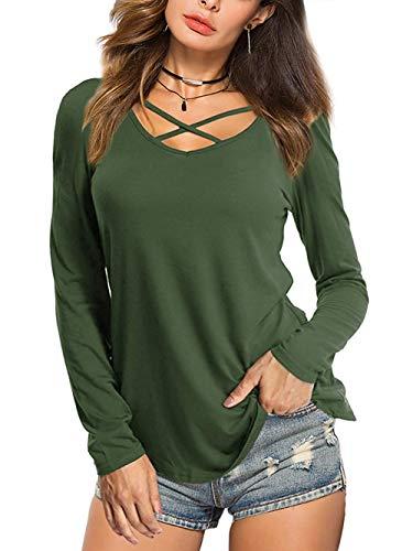 Beluring Bluse Damen Casual Tunika Tops V-Ausschnitt Solides Criss Cross T-Shirt, A-barmeegrün, 38-40 (Herstellergröße: M)