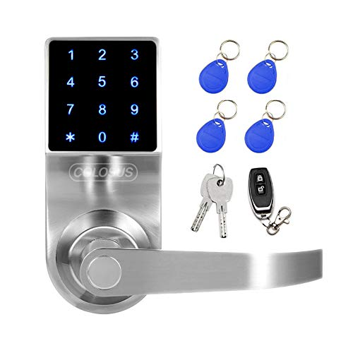 Colosus NDL319 Keyless Electronic Trusted Digital Smart Door Lock, Keypad – Smartcode Security, Grant & Control Access for Home, Office, Rental Property, Gym (Silver - 4 Key Fobs)