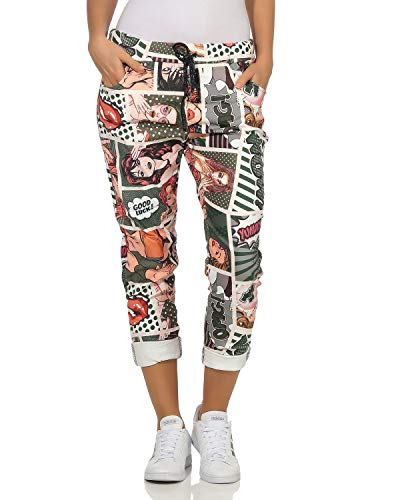 ZARMEXX Damen Baggy Casualpants Boyfriends Bequeme Jogpants Popart - Comic Print Muster 7 (36-40)