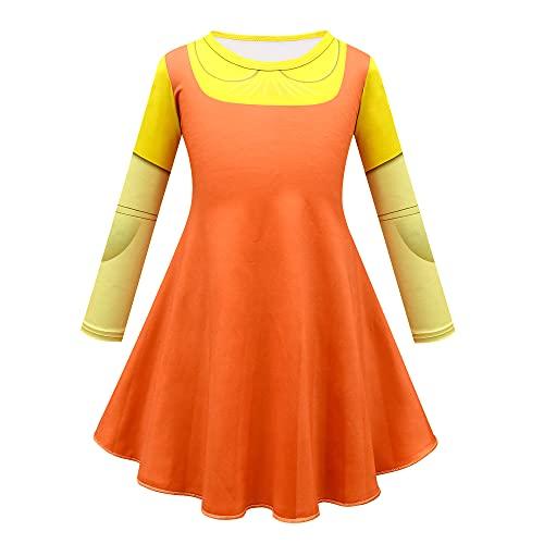 Wangjia Disfraz de Cosplay de Juego de Calamar, Vestido Naranja de Hombre de Madera para niñas, Traje de Personaje, Accesorios de Disfraces, Conjunto Completo de Halloween