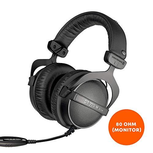 beyerdynamic DT 770 M 80 Ohm Over-Ear-Monitor Kopfhörer in schwarz, Geschlossene Bauweise, kabelgebunden, Lautstärkenregler für Schlagzeuger und Toningenieure FOH