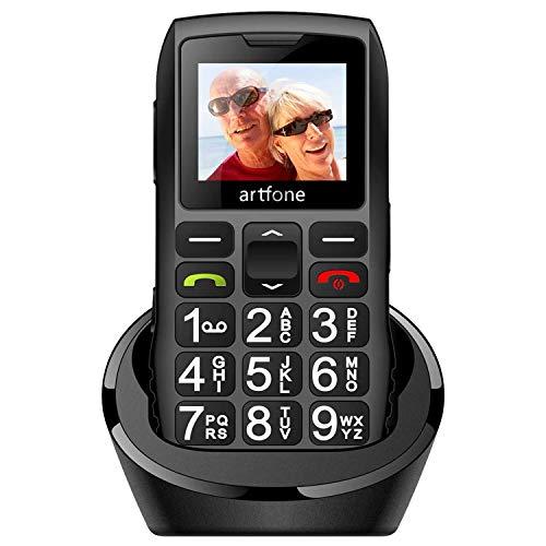 artfone Seniorenhandy mit großen Tasten & ohne Vertrag, Dual SIM Rentner Handy mit Notruf-Knopf, 1400 mAh Akku Lange Standby-Zeit - 1,77 Zoll Farbdisplay - 2G GSM Großtastenhandy mit Ladestation