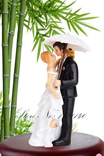 Soode romantische paraplu kus in de regen bruiloft taart toppers paar bruid en bruidegom beeldjes