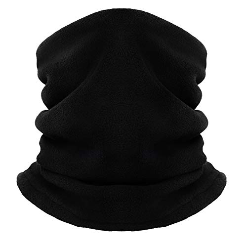 Winter Fleece Neck Gaiter Women & Men Windproof Dual Layer Face Mask Thermal Ski Tube Scarf for Cold Weather,Thick Neck Warmer (Black)