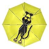 Paraguas de Viaje pequeño a Prueba de Viento al Aire Libre Lluvia Sol UV Auto Compacto 3 Pliegues Cubierta de Paraguas - Cortina de rasguño de Dibujos Animados de Gato Divertido