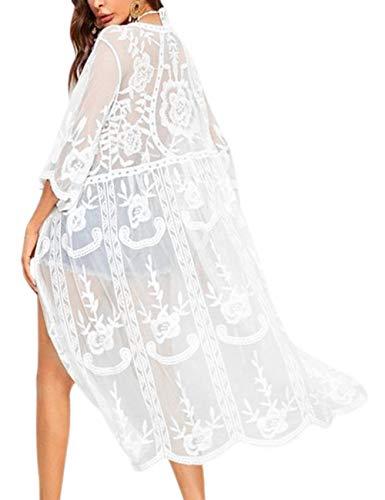 iWoo Sommer Outfits Damen Häkeln Vorne Blumen Kittel Weiß Damen Sexy Hohle Sehen Durch Einfarbig Spitzen Cardigan-Weiß