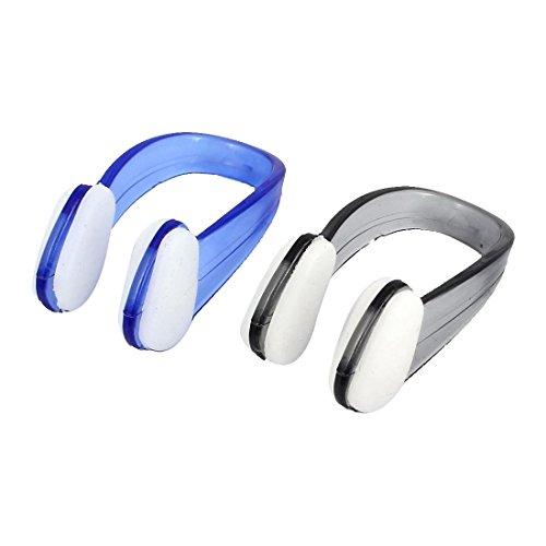 TOOGOO(R) Schwimmen Nasenklammer Schwimmen, Tauchen, Kunststoff-Nasenklammer Displayschutzfolie, 2 Stueck, blau/schwarz