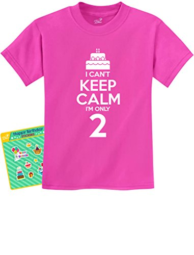 2nd Birthday Gift Can't Keep Calm I'm Two Birthday Cake 2 Year Old Kids T-Shirt 2T Pink