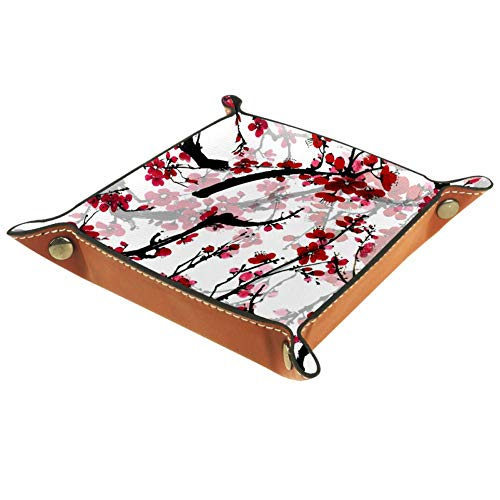 Red Flowers Woods Theme Valet Tray Desktop Storage Organizer for Jewelry, Wallet, Phones, Coins, Watches, Sunglasses, Keys,