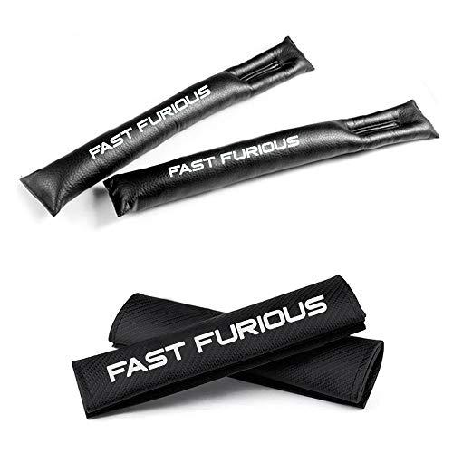 Muchkey Fibre de carbone ceinture de sécurité Coussinets d'épaule et sièges auto Fillers gap de siege de l'espace rembourrage Cuir PU Avec Blanc Réfléchissant Fast Furious Label Noir