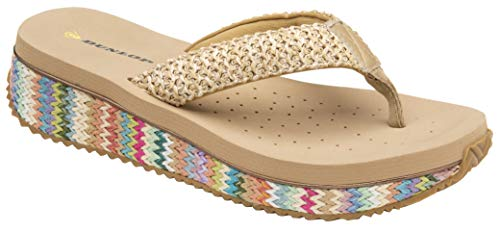 Dunlop Sandalias bajas con cuña para mujer, rafia, playa, verano, zapatos de verano, tallas 36 - 42,5, color Beige, talla 41 EU