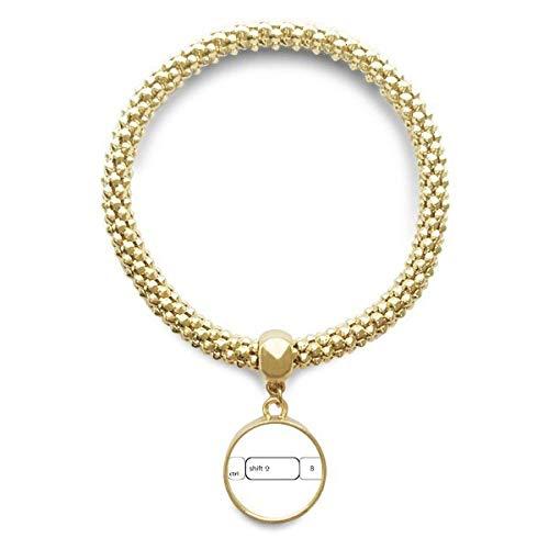 DIYthinker Damen Tastatur Symbol Strg Umschalt B goldenen Armband Laufende Anhänger Schmuck-Kette