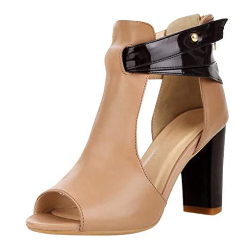 Dorical Damenschuhe High Heel Sandalen Sandaletten Kunstleder Peep Toe Stiefel Reißverschluss Sandalen & Sandaletten Wildleder Schuhe Elegant Sandaletten Freizeit Party-Schuhe(Khaki,37 EU)