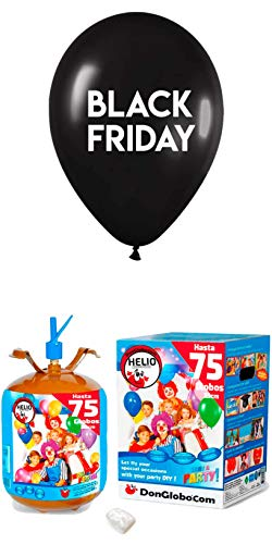 40 Globos Black Friday Latex 35cm con Bombona de Helio 0.63m3
