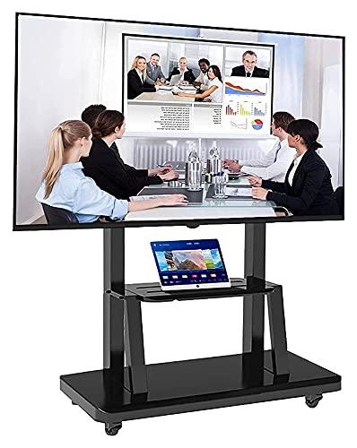 Soporte de TV móvil para pantallas planas, soporte giratorio para TV con ruedas y estante de altura ajustable para dormitorio (color negro)