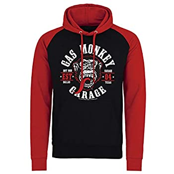 Gas Monkey Garage Officially Licensed Round Seal Baseball Hoodie  Black-Red  Medium