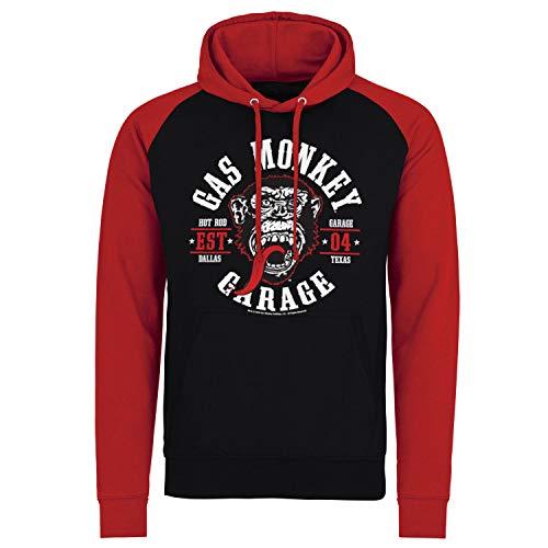 Gas Monkey Garage Oficialmente Licenciado Round Seal Baseball Sudaderas con Capucha (Negro-Rojo), Large