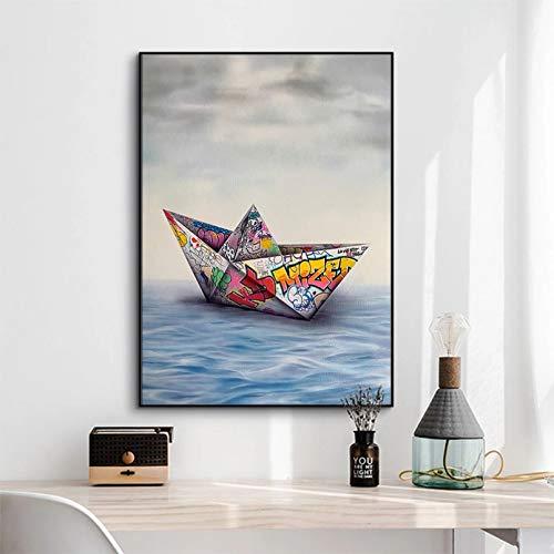 Pintura en Lienzo Imagen HD Graffiti Papel Origami Barco Lienzo Pintura Carteles e Impresiones imágenes de Pared para Sala de Estar decoración del hogar