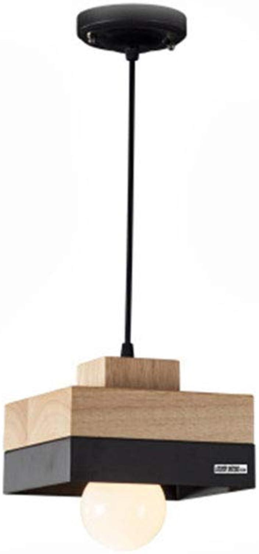 GFF SHOP Nordischer moderner, einfacher kreativer Leuchter personalisierter Restaurantbar hlzerner Leuchtercaféwohnzimmerstudien-Eisenkronleuchter,schwarz