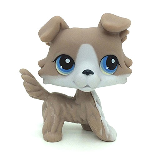 kenven Littlest Pet Shop LPS Collie Puppy Dog #67 Grey and White Collie Dog