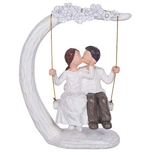 JHP Together Figure, 9Inch Hand-Print Together Love Couple Figurines a Couple, Newlyweds, Wedding Couple, Husband Wife (002)