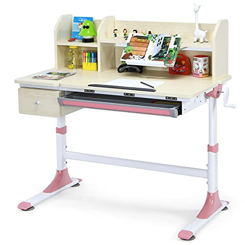 Costzon Kids Desk, Adjustable Height Study Desk w/Tilted Desktop, 2-Tier Shelves, Book Holder Stand, Storage Box & Pull-out Drawer, Ideal for Writing, Painting and Reading, Children Student Desk, Pink
