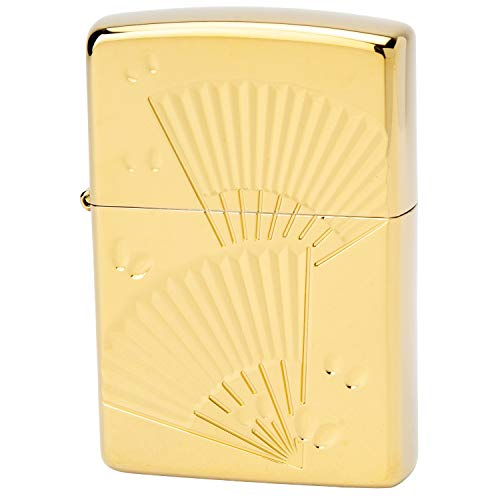 ZIPPO(ジッポー) ライター ゴールド 和柄 片面彫刻 チタンコーティング 扇 高さ5.5cm×幅3.8cm×奥行き1.3cm